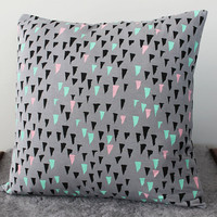 Hand Printed &#x27;Stalactite&#x27; Pillow in Black, Mint, Pink on Grey