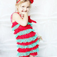 christmas pettiromper red and green