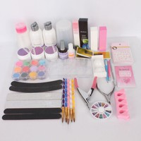 Acrylic Powder Liquid Primer Decoration Rhinestones DIY Nail Art Tips Kit Set#77