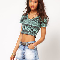 ASOS Crop Top in Abstract Print