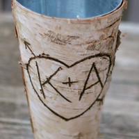 Personalized Birch Vase Fall Autumn Home Decor Rustic Chic