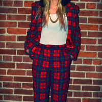 1970s Pendleton Pant Suit Red Plaid