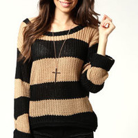 Katie Wide Stripe Open Knit Jumper
