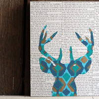 Ikat Deer Head Silhouette in Turquoise, Blue, and Gold, Deer Art, Deer Head With Antlers Over Vintage Book Pages, Woodland Wall Art, 9x12