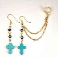 Turquoise cross ear cuff. Ear cuff pair. Ear cuff with chain.