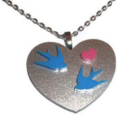 Kawaii Swallow Necklace, Silver Glitter Heart Pendant