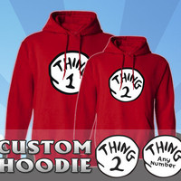 Dr. Seuss - Thing 1 2 3 4 5 Hoodies - Brand New, All Sizes, 100% Cotton Hoodies