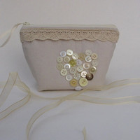 Shabby Chic Make-up Bag, Honeymoon Cosmetic Case, Linen Zipper Pouch