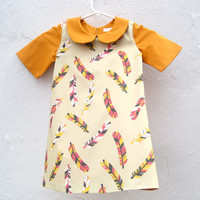 The Wren Dress - Eco Friendly Girls Feathers Dress in Orange Pink with Peter Pan Collar (READY TO SHIP 5T Made To Order 2T 3T 4T)