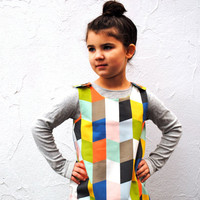 The Mabel Dress - Organic Girls Dress in Geometric Diamonds - Spring Pinafore Dress for Modern Kids (READY TO SHIP in size 4-5T)