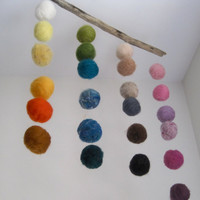 BABY MOBILE - Quiet Rainbow - Felted Wool Balls Hanging Nursery Decor / Waldorf Decoration - Home Decor