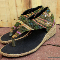 Abbie Vegan Wedge Sandals In Colorful Green Hmong Embroidery