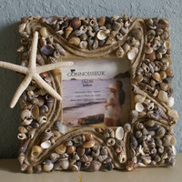 Coastal picture frame  Home Decor by JustShellin on Etsy