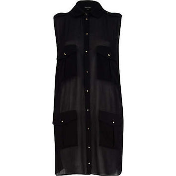 River Island Womens Black utility pocket sheer sleeveless shirt