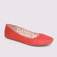 Afar Coral Linen Flat in Shoes All Shoes at Frock Candy