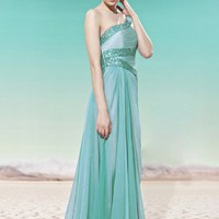 Josie in Green Asymmetric Prom Dress
