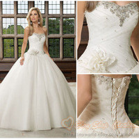 New 2013 Stock white/ivory Bride Gown Bridesmaid Prom Wedding Dress Size 6-16