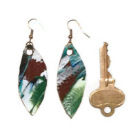 Leather feather earrings, leather dangle earrings, seafoam earrings