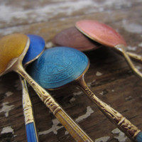 Sterling and Enamel Demitasse GUILLOCHE spoons set by shoppnspree