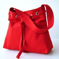 SALE Lovely Bag in Crimson Red  everyday purse  by bayanhippo