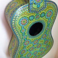 Blue Painted Ukulele by BeesCuriosityShoppe on Etsy