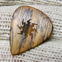 Custom Wood Guitar Pick - Handmade from Exotic Mexican Bocote