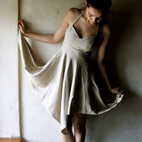 Short Party or Wedding Dress in Ecru woven Silk by larimeloom