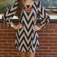Mocha Chevron Dress Size Small