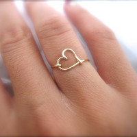 Gold Heart Ring by DesignedByLei on Etsy