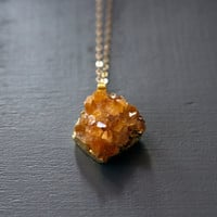 Raw Citrine Necklace, Gold Citrine Cluster Druzy Necklace by Atelier Yumi