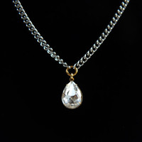 Teardrop Crystal Necklace on Silver Chain by Atelier Yumi