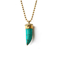 Turquoise Tusk Necklace, Bohemian long necklace by Atelier Yumi