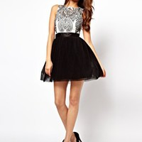 Lipsy VIP Prom Dress with Embroidered Bodice at asos.com