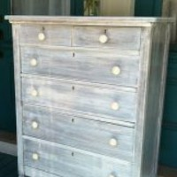 EcoVolveNow Jessica White Shabby Chic Dresser Vintage Tall Boy Beach Cottage Chic