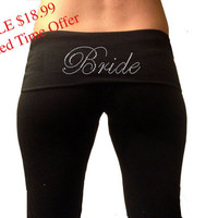 Custom Bride Black Fold Over Yoga Pants  Custom by TheComfortBride