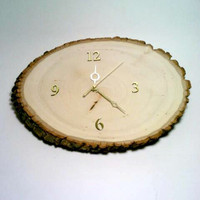 Clock, Log Slice Clock, Rustic Clock, Primitive Clock, Wood Clock