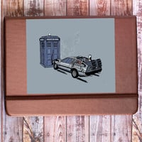 DeLorean Tardis Crash Sticker (Doctor Who Meets Back to the Future)