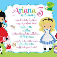 ALICE PARTY Birthday Invitation - 2 To Choose - Photo Or No Photo - U PRINT | Luulla