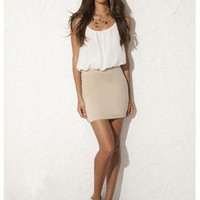CHIFFON 2-IN-1 BODYCON DRESS