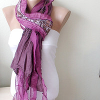 Hand Dyed Purple Color Scarf from 100 coton with flora by Periay