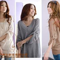New Korea Womens Loose Fold Sleeve V-Neck Knit Sweater Long Tops 3 Colors