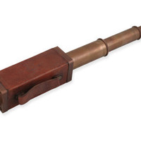 Square Handled Telescope - Brass & Leather