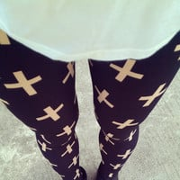 Cross Print Leggings by KodChaPhorn on Etsy