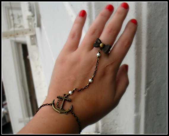 anchor slave bracelet anchor bracelet anchor ring by alapopjewelry