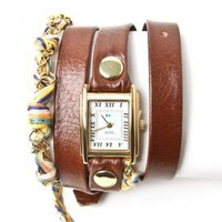 la mer - women&#x27;s primary friendship bracelet watch (brown gold) - La Mer | 80&#x27;s Purple