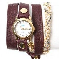la mer - women&#x27;s crystal plum chain wrap watch (eggplant/gold circle case) - La Mer | 80&#x27;s Purple