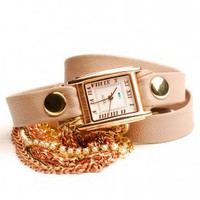 la mer - women's st. germain cystal chain leather strap watch (nude/gold) - La Mer | 80's Purple