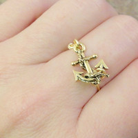Gold Anchor Ring - Made in Your Size