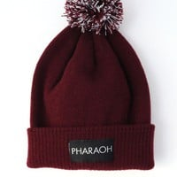 MAROON BOBBLE BEANIE HAT  PHARAOH