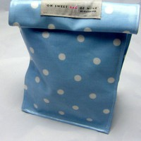 Oilcloth Lunch Bag - Spots - White On Blue | Luulla